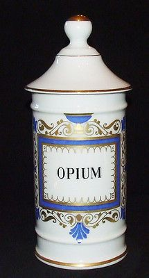Antique HUGE cocaine opium poison apothecary medical porcelaine flask signed