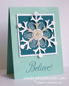 Julie's Stamping Spot -- Stampin' Up! Project Ideas Posted Daily: Sparkly Snowflake Soiree Card