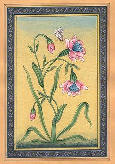 Flowers in Bloom, watercolor on paper, Mughal style