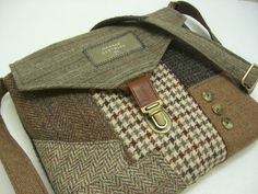 Recycled purse brown wool and polyester, mens suit coat would go great with my multi tweed hat.