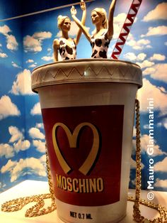 The windows of La Rinascente in Milan dedicated to the fashion house Moschino during the fashion week