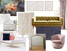 Concept Board, Rococo, Home Remodeling, Mid-century Modern, Ottoman, Mid Century, Interior Design, Chair, Inspiration