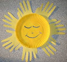 Construction Paper Crafts For Early Learners : Hand Print Sun Craft
