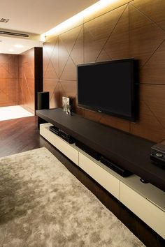 Interior Kiev Apartment by Soesthetic Group - Stylish Television Display