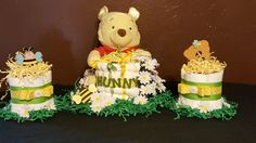 Winnie the Pooh Hunny Pot Diaper Cake Trio, Baby Shower, Baby Gift, Centerpiece by CuddleNCooCreations on Etsy