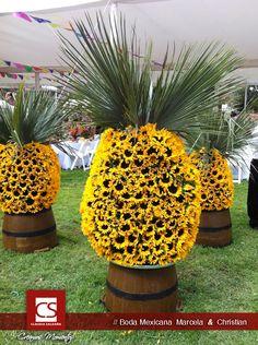 Diseño floral girasoles. Ideas boda. Marcela & Christian.
