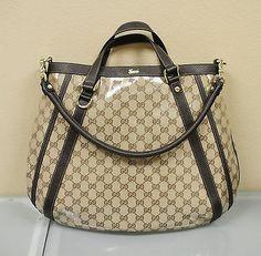 NEW GUCCI Crystal GG Canvas Convertible Abbey Tote Bag Handbag w/D Ring 268641