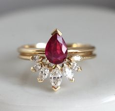 Natural Ruby Engagement Ring Set with Marquise Diamond Crown Ring, Pear Ruby Solitaire with Matchin Diamond Band Marquise Ring, Diamond Crown Ring, Diamond Bands, Halo Engagement Rings, Engagement Ring Settings, Wedding Ring Styles, Wedding Rings, Gold Rings Jewelry, Jewlery