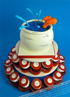 Dr.Seuss fish in the bowl cupcakes cake! by Design Cakes, via Flickr