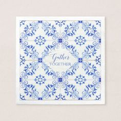 Gather Together Farmhouse Rustic Watercolor Tile Napkin - watercolor gifts style unique ideas diy