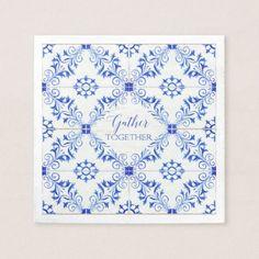 Gather Together Farmhouse Rustic Watercolor Tile Napkin - wedding decor marriage design diy cyo party idea