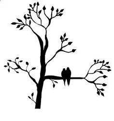 Silhouette of a tree with leaves with two birds sitting on a branch. Silhouette Clip Art, Silhouette Images, Silhouette Portrait, Tree Silhouette, Silhouette Projects, Silhouette Design, Tree Templates, Two Birds, Bird Tree