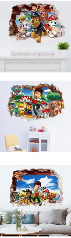 Bring Paw Patrol Home Now! Paw Patrol Party, Wall Stickers, Playroom, Check, Kids, Wall Clings, Young Children, Game Room Kids, Boys