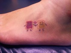 My best friend and I got these about a month ago. We have been best friends for ten years and would always joke that we were like peanut butter and jelly. So we go these guys. Hers is in the same place, but this is a photo of mine right after it was done. I love it because it is silly and ridiculous.♥