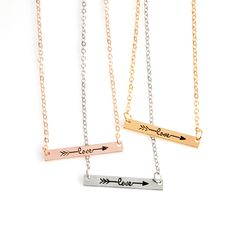 Arrow Necklace Hot Three-Color Gold And Silver Small Bar Arrow Necklace