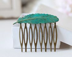 Feather Hair Comb. Verdigris Patina Blue Brass Feather by LeChaim