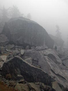 In Washington State on the Pacific Crest Trail deep in rainy day, a fellow hiker passes a gigantic rock in a field of fallen boulders. Even the grey weather is gorgeous.
