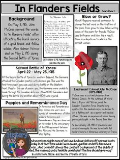 """John McCrae wrote """"In Flanders Fields"""" in 1915 after the Second Battle of Ypres during World War Students will learn about the poem and the author and then analyze the poem. This analysis ties in perfectly to a World War I lesson, a Remembrance Day les Remembrance Day Poems, Remembrance Day Activities, Veterans Day Activities, Remembrance Poppy, Second Battle Of Ypres, Th Words, Flanders Field, History Magazine, Anzac Day"""