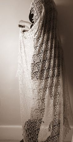 Romantic large hand knit lace shawl/veil