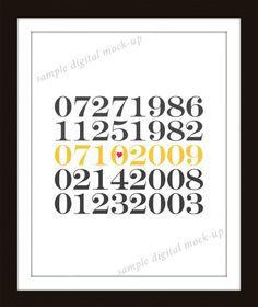 Custom Valentines Anniversary Wedding Date Typography by inkstomp, $35.00