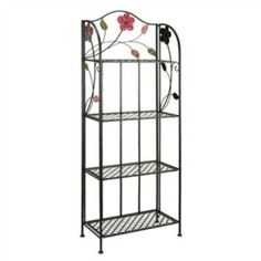 Indoor Outdoor Metal Bakers Rack Plant Stand with Floral Accents- Free Shipping