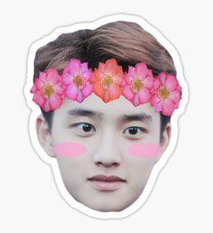'Kyungsoo Exo Flower Crown' Sticker by Exo Stickers, Face Stickers, Tumblr Stickers, Kyungsoo, Kaisoo, Sticker Printable, Exo Cartoon, Icon Png, Florist Logo