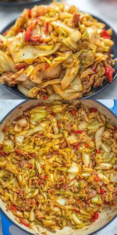 This Fried Cabbage recipe is insanely good! Made with bacon, onion, bell pepper, and hot sauce, it is easy to make and comes out perfect every time! Fried Cabbage Recipes, Bacon Fried Cabbage, Side Dish Recipes, Vegetable Recipes, Dinner Recipes, Ark Recipes, Vegetable Salad, Pan Relleno, Cooking Recipes