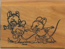 WALLACE TRIPP Kidstamps Keep in Touch Tag Mice Wood Block Rubber Stamp NOS