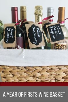 Wine Inspired Bridal Shower A Year Of First Basket Gift Idea