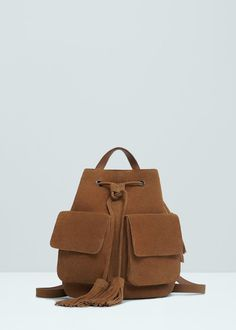 Pocket leather backpack | MANGO
