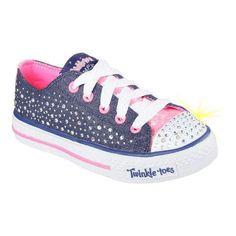 Girls' Skechers Twinkle Toes Shuffles Sparkle Wishes Sneaker (Blue)/Hot Pink (US Girls' (Regular)), Girl's