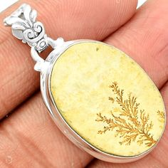 Psilomelane Dendrite German 925 Sterling Silver Pendant Jewelry PDGP342
