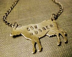 Cow Hugger Necklace by roamingrabbit on Etsy, $22.00