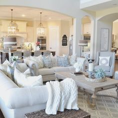 Spacious Family Room With Soothing Decor Open Living