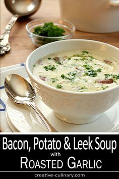 Bacon, Potato and Leek Soup with Roasted Garlic is rich, delicious and satisfying all year long. Bacon, Potato and Leek Soup with Roasted Garlic is rich, delicious and satisfying all year long. Potatoe Leek Soup Recipe, Potato And Leak Soup, Leek And Bacon Soup, Bacon Potato, Healthy Potato Leek Soup, Garlic Soup, Roasted Garlic, Soup Appetizers, Appetizer Dinner