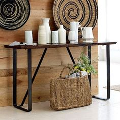 Rustic Console Table--Larger Dinning table with butcher block top, and 2 side tables