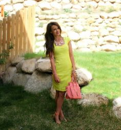 Kiss Me Darling: The Perfect Dress Yellow dress, peach heels, Peach coral bag, pearl necklace, spring outfit, summer outfit
