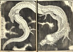 A dragon by the Japanese artist Hokusai, woodcut, 1845