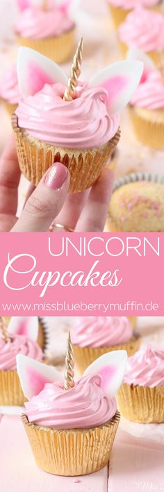 Zauberhafte Einhorn Cupcakes mit Marshmallow-Creme // Cute Unicorn Cupcakes with. - Zauberhafte Einhorn Cupcakes mit Marshmallow-Creme // Cute Unicorn Cupcakes with Seven Minute Frost - Birthday Desserts, Unicorn Birthday Parties, Cute Desserts, Cupcake Ideas Birthday, Pink Desserts, Creative Desserts, Baking Desserts, Girl Birthday, Birthday Candles