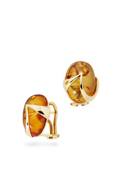 House of Amber - Gold earrings with amber.
