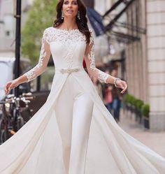 Long Plus Size Wedding Dresses Off White Dress Lalamira White Qipao Wedding Jumpsuit, Lace Jumpsuit, White Jumpsuit, Jumpsuit Outfit, White Romper, Long Sleeve Wedding, Wedding Dress Sleeves, Lace Sleeves, Bridal Gowns