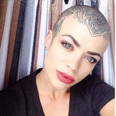 Image result for head tattoos for women