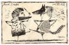 Postcard by Henrik Drescher (1980's), children's illustrator. Little Red Riding Hood and Other Wolfish Things