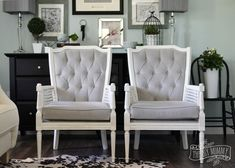 A Vintage Cane Chair Pair Makeover in Grey Velvet | The DIY Mommy