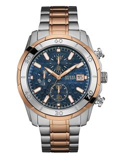 e8487b372b5 Silver and Rose Gold-Tone Chronograph Watch at Guess