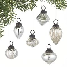 Mini Antiqued Silver Ornaments Set of Six in Christmas Ornaments | Crate and Barrel