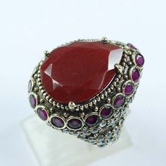 Pear Cut Unique Design Ruby Gemstones Ring Solid by ernestosaks