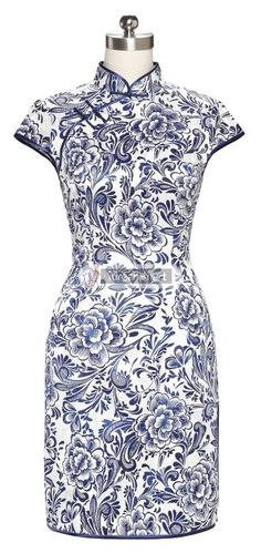 #idreammart Cotton Blue & White Porcelain Peony Printed Short Sleeve Mini #Qipao - iDreamMart.com