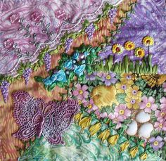 I ❤ crazy quilting . . . RR block - ANABELAS- by Jo in NZ