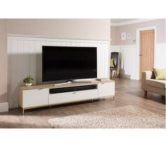 Nelson wooden TV cabinet large in white and light oak - 26486 wooden TV stands, TV units, cabinets & wall entertainment units, modern & contemporary. Modern Tv Cabinet, Tv Cabinet Design, Tv Unit Design, Living Room Tv Unit, My Living Room, Small Living, Modern Living, Living Area, Light Oak Furniture